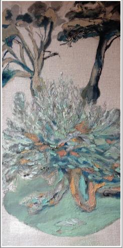 Pigments de nihonga et colle sur toile - Caisse américaine en bois teinté