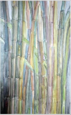 Encre de Chine de couleur - baguette en bois naturel