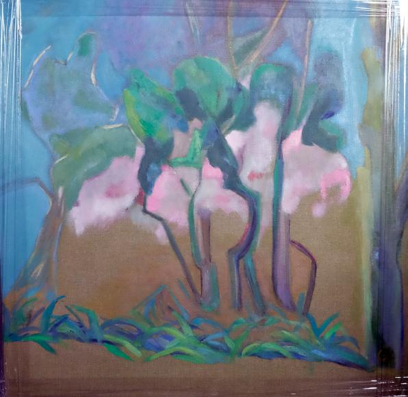 Pigments de nihonga et colle sur toile - baguette gris vert