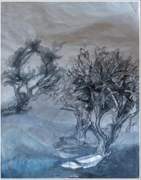 Peinture d'encre de Chine et peinture à l'argent sur papier