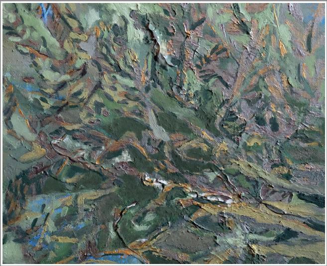 Peinture à l'huile, encre de Chine sur toile - non encadré