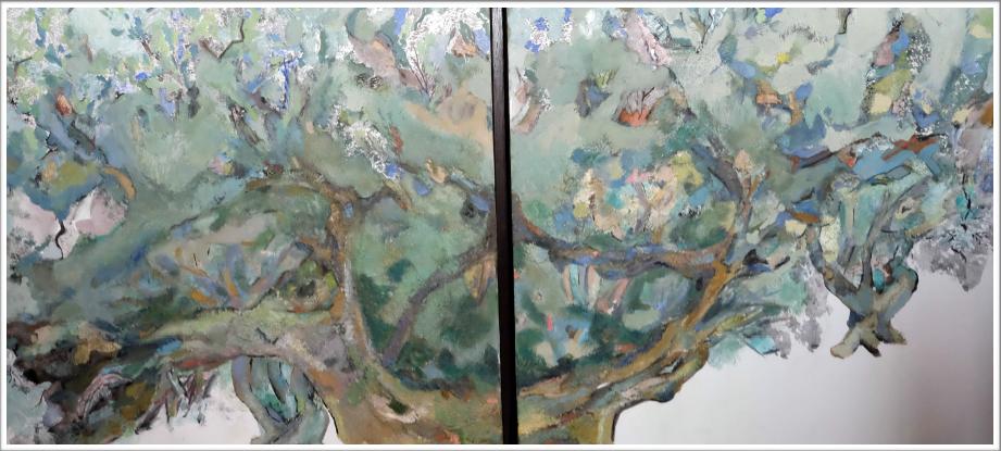 Pigments de nihonga, colle et encre de Chine sur toile – caisse américaine en bois teinté
