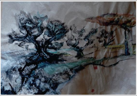 Aquarelle et encre de Chine sur papier - non encadré