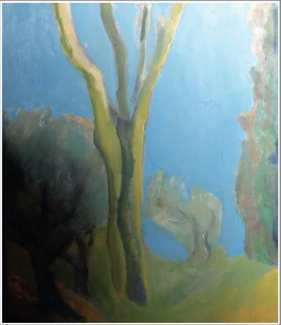 Peinture à l'huile sur toile - baguette gris-vert
