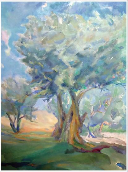 Peinture à l'huile sur toile - mince baguette bois naturel