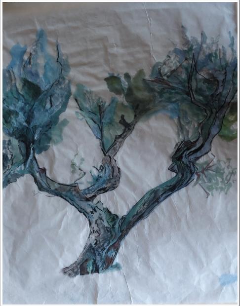 Encre de Chine de couleur sur papier