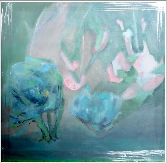 pigments de nihonga et colle sur toile - baguette gris-vert
