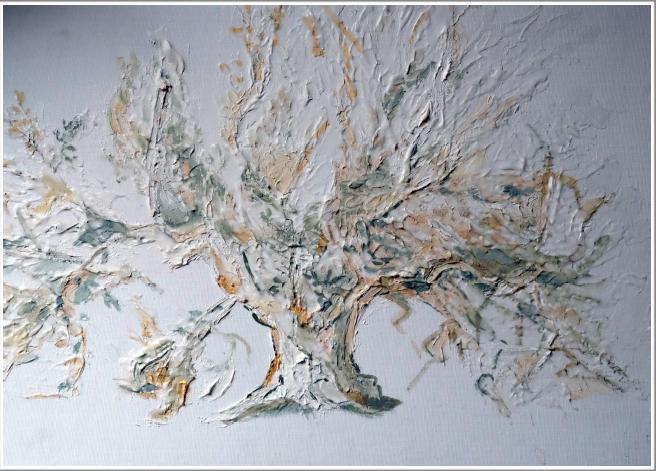 Peinture à l'huile, peinture à l'or sur carton entoilé - non encadré